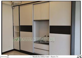 Lemari minimalis elegan tv unit Zebra