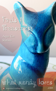 Lovely Find & Treasure: Aqua Cat Statues via www.whatmandyloves.com