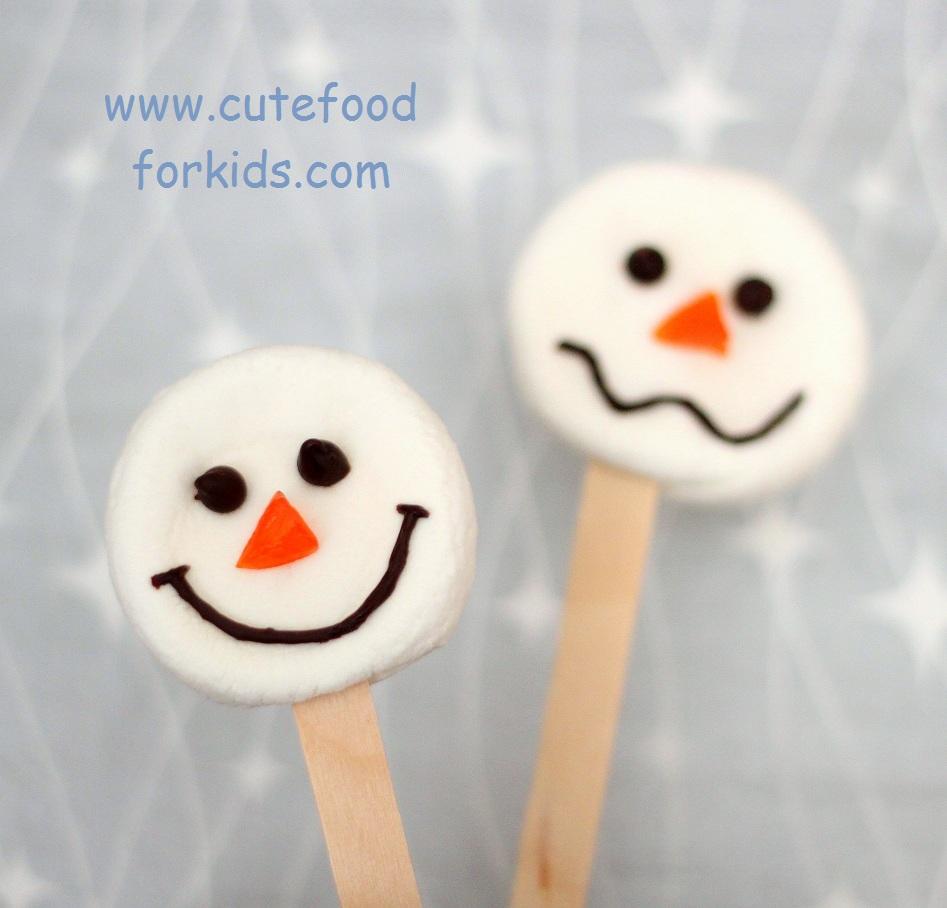 Cute Food For Kids Easy Marshmallow Snowmen
