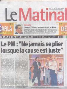 Newspaper Mauritius Le Matinal