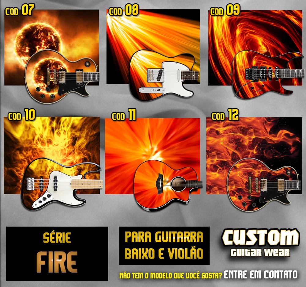 Aparador Tabaco ~ Série Fire Fogo Adesivo de Guitarra, Baixo e Viol u00e3o