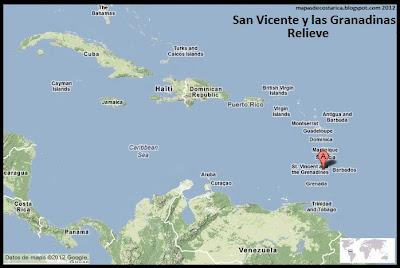 Mapa de Relieve de San Vicente y las Granadinas en El Caribe