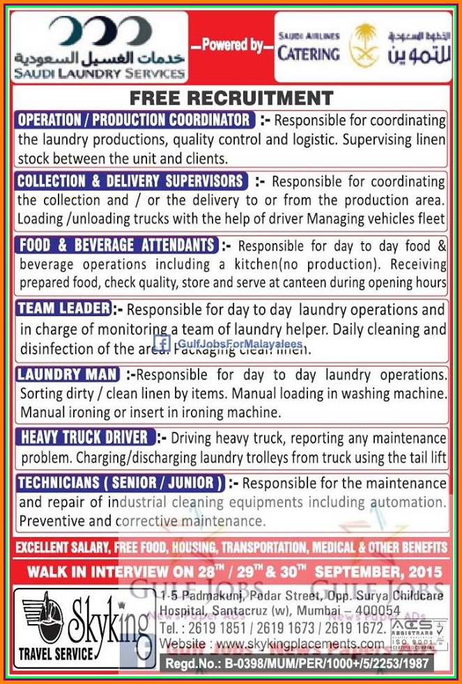 Free Job Recruitment For Ksa Gulf Jobs For Malayalees