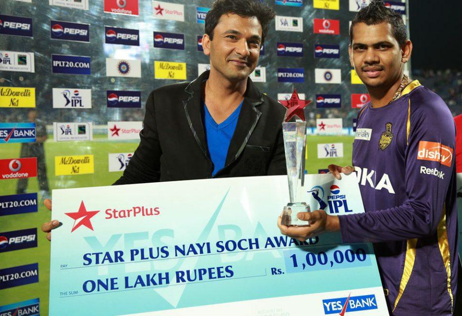Sunil-Narine-star-plus-nayi-soch-award-PWI-vs-KKR-IPL-2013