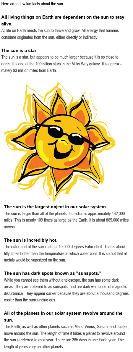 Facts about the sun for kids