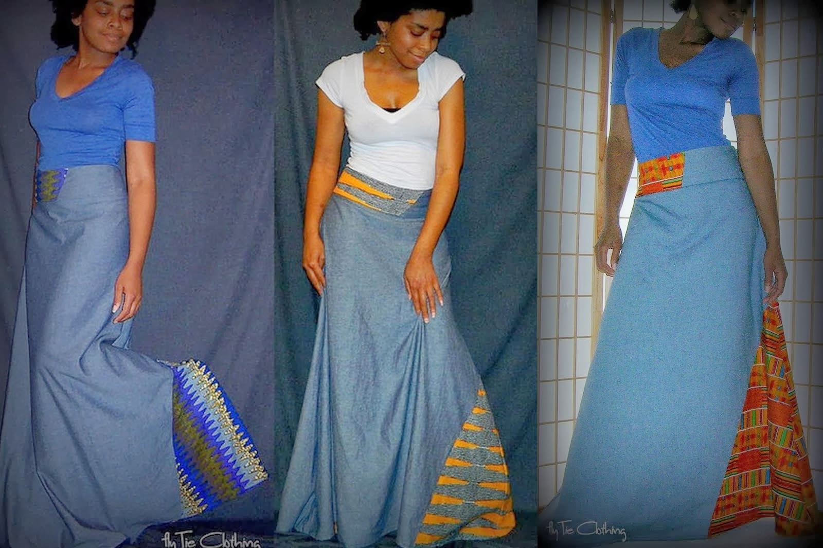 Denim/Wax Print Maxi Skirt