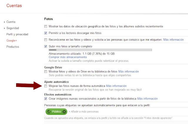 Configuración cuenta Google Plus
