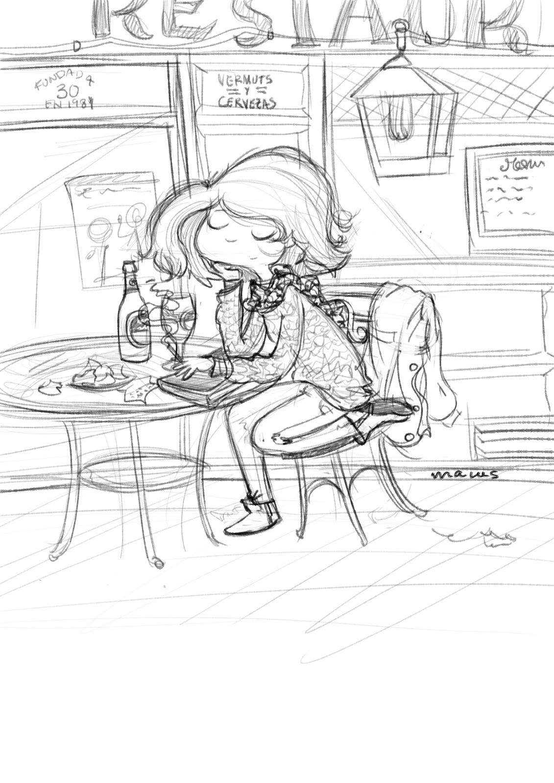 ilustracion infantil digital cafeteria