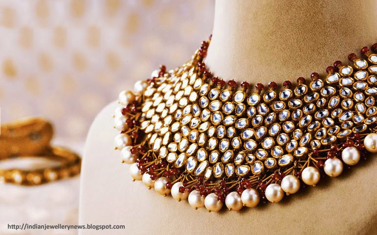 Kundan Polka Necklace with Pears and semi-precious stone in 22ct Gold