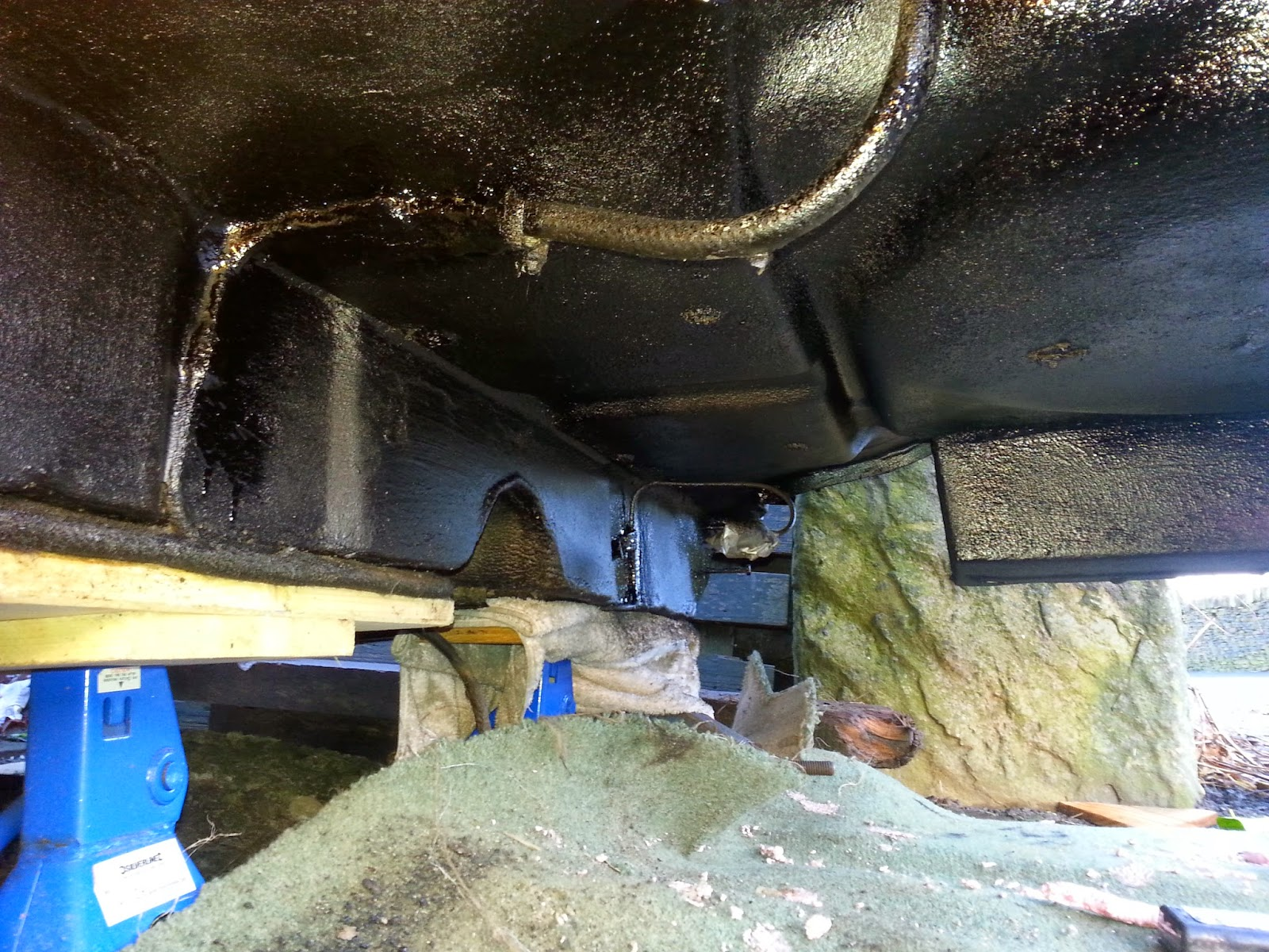 And the engine mounted to the subframe with exhaust system in place - Cut A Hole In The Subframe For The Rear Exhaust Mount