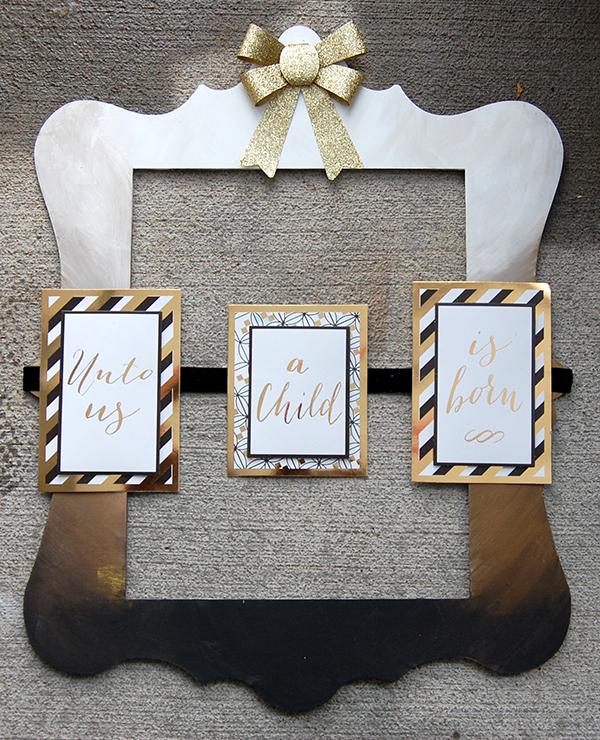wood frame, gold ribbon, gold, black, white card design final look