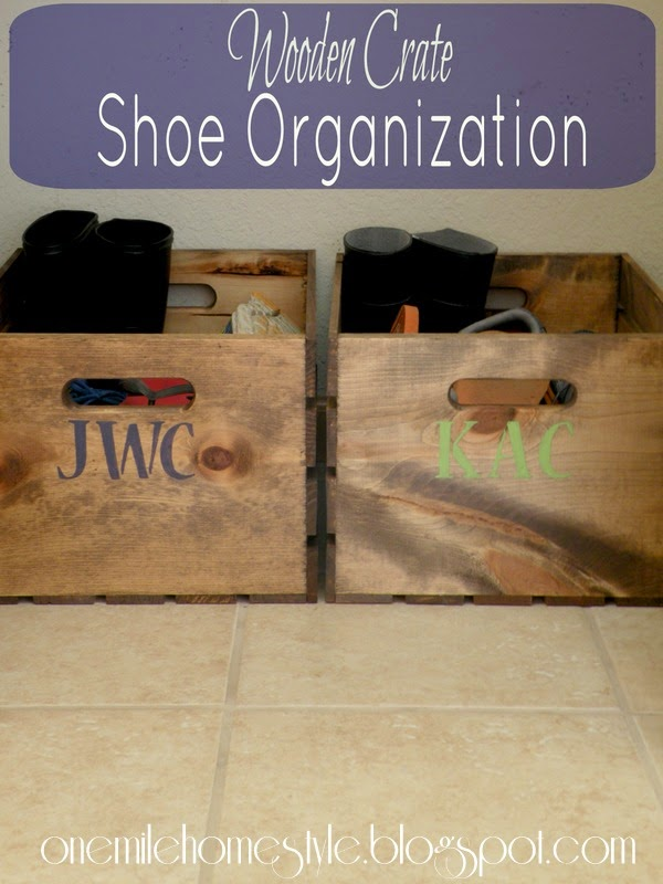 Wooden Crate Shoe Organization - Entry Closet Organizing