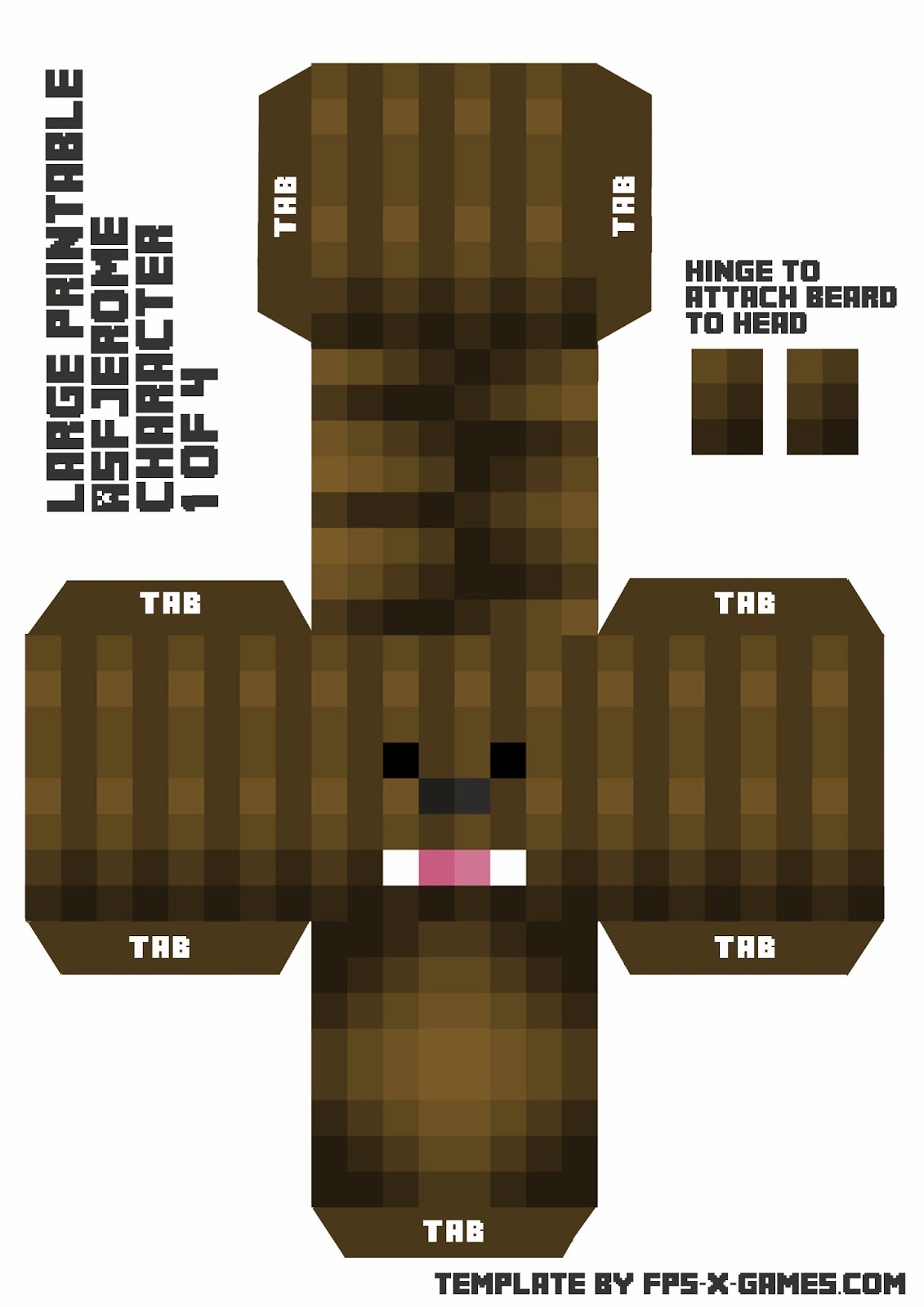Large ASFJerome Printable Papercraft Character 1 of 4