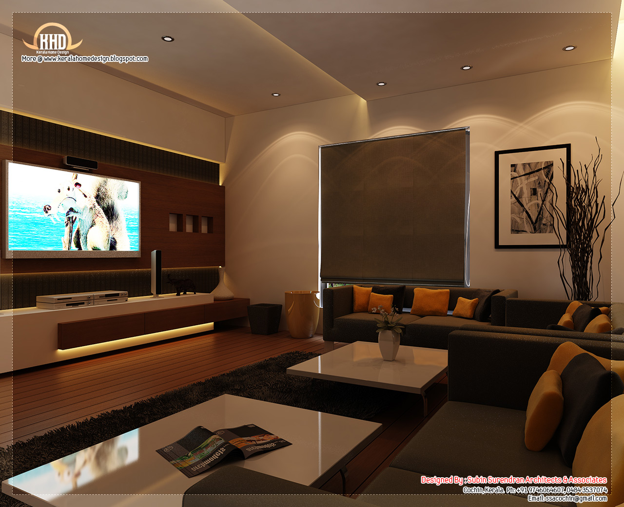 Beautiful home interior designs kerala home for Indian living room interior design photo gallery