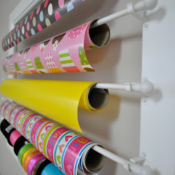 Wrapping Paper and Ribbon Wall Rack