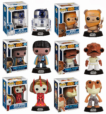 Star Wars Pop! Series 4 Vinyl Figures by Funko - R2-D2, Wicket the Ewok, Lando Calrissian, Admiral Ackbar, Queen Amidala & Jar Jar Binks