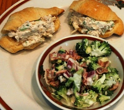 Mini chicken salad sandwiches and broccoli salad