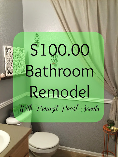 Cheap Bathroom remodel, Frugal Bathroom remodel, Grey bathroom, Bright colored bathroom, Renuzit Pearl Scents, Odor Neutralizer, Air Freshener, Long-lasting