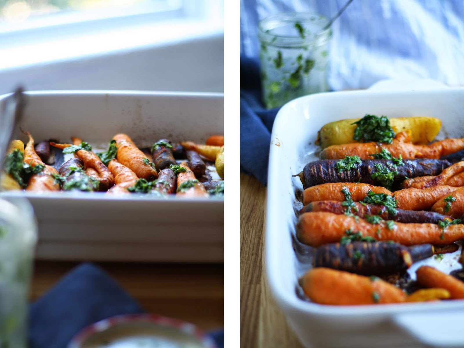 roasted heirloom carrots with cumin, paprika and a fresh herb drizzle // sevengrams