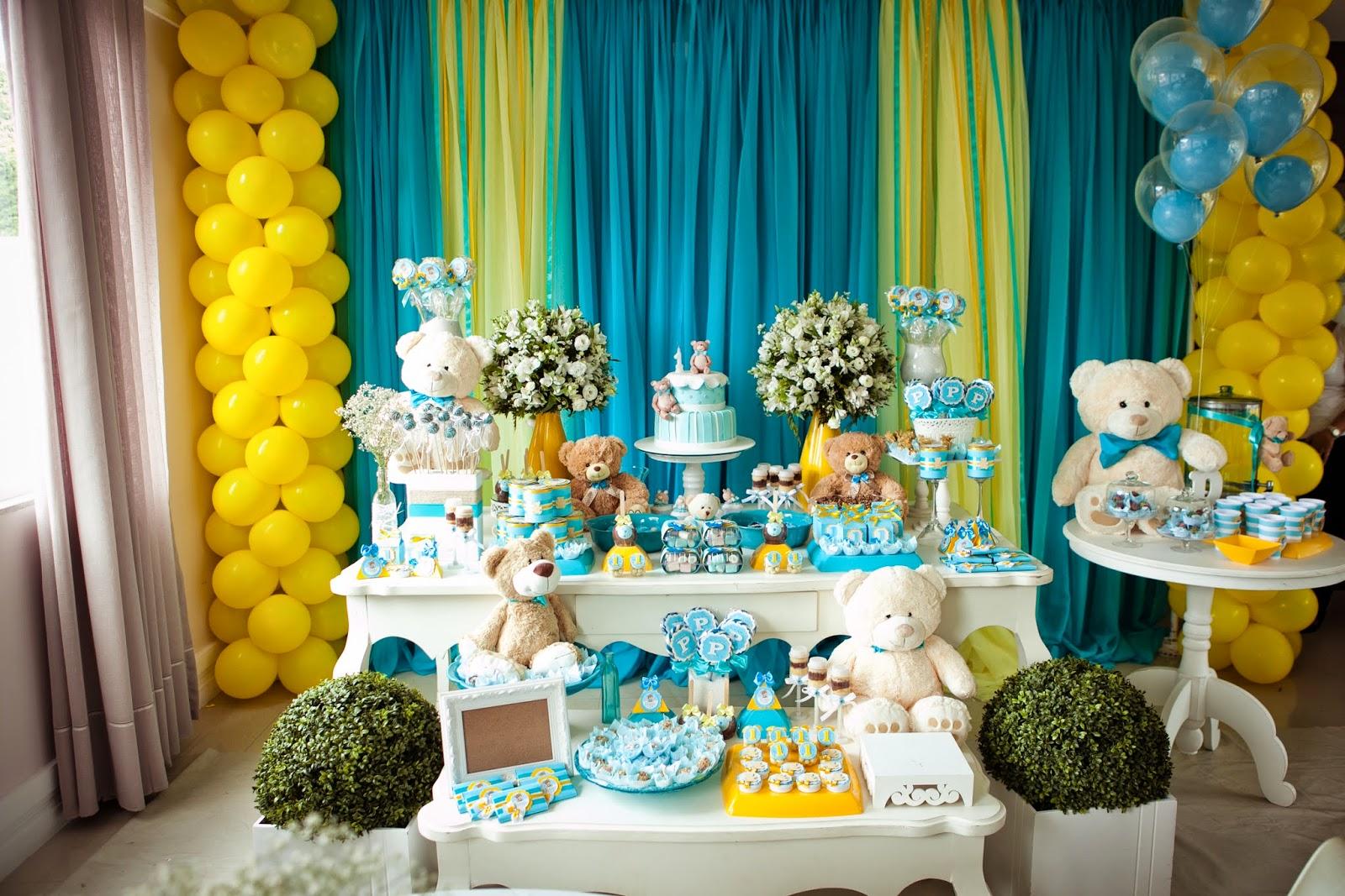 decoracao azul e amarelo para aniversario:Faz de Conta: Ursinho Azul Turquesa com Amarelo – Pedro