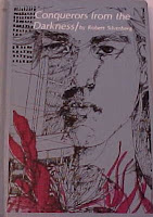 Original cover of Conquerors from the Darkness, closeup of drawn young man's face superimposed on sketchy buildings and sea plants