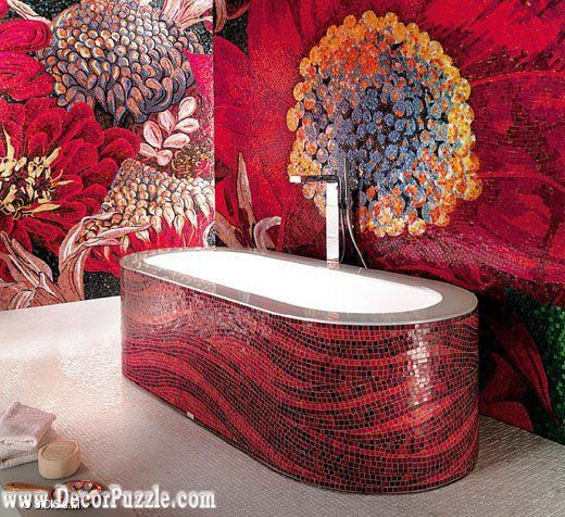 luxury bathtubs for modern bathroom, red bathtub mosaic tiles