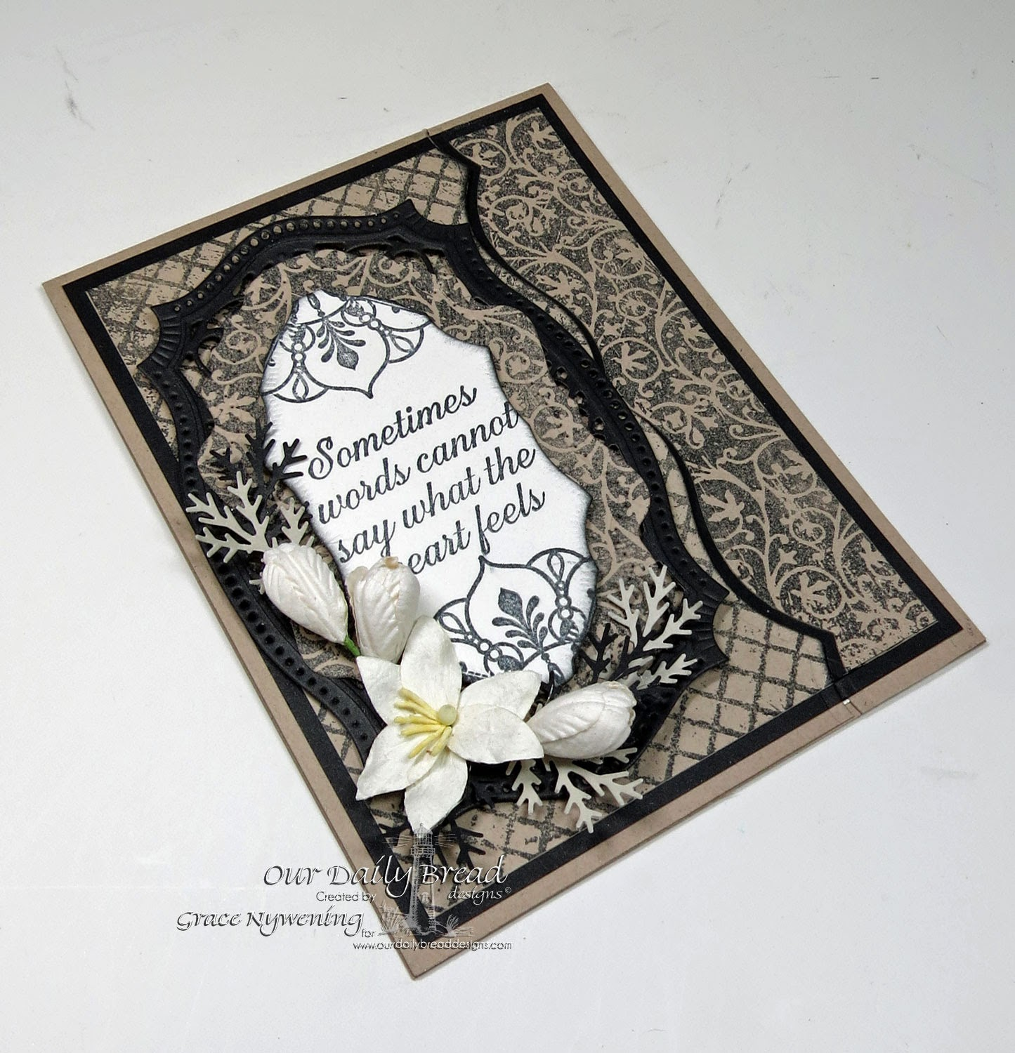 "Our Daily Bread designs stamps"" Chalkboard Vine Background, Chalkboard Lattice Background, No Words, Ornate Borders and Flowers, ODBD Vintage Flourish Pattern Dies, designed by Grace Nywening"