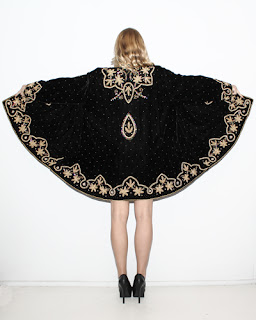 Vintage 1980's black velvet embellished and embroidered dress coat.