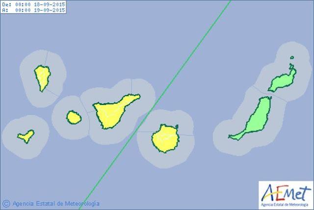 Alerta por lluvias canarias viernes 9 octubre, no hay