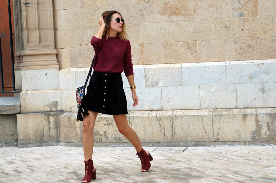 mini suede skirt stradivarius littledreamsbyr streetstyle