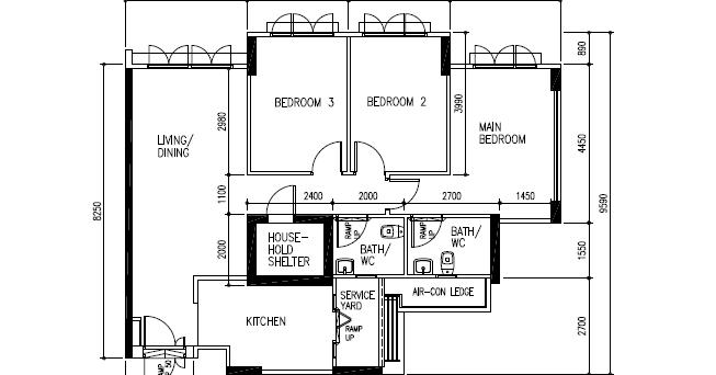 home maintenance and upgrade singapre and johor bahru  hdb 4 room floor plan
