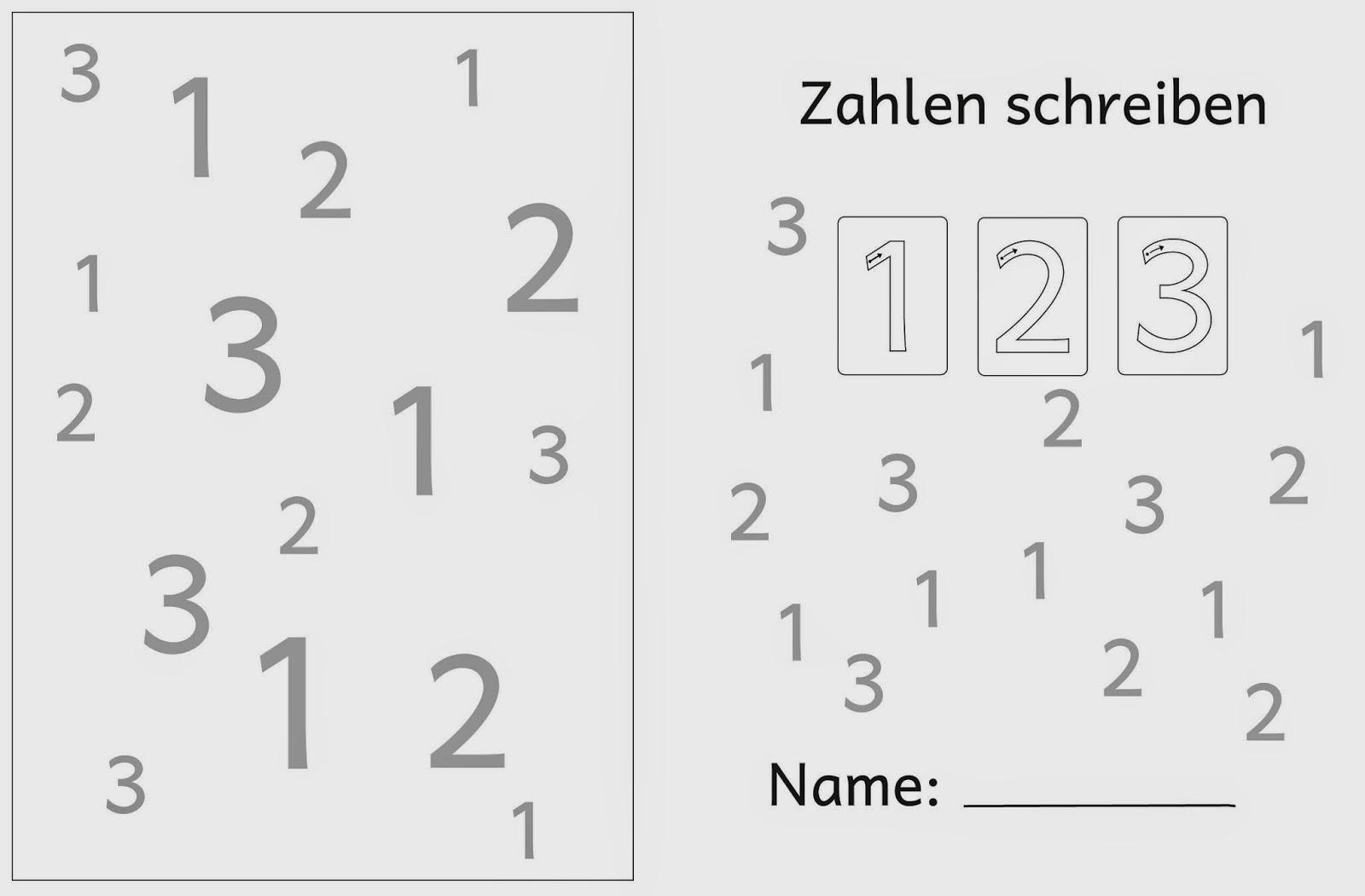 Lernstübchen: Ziffernschreibkurs 1 2 3 große Zahlen