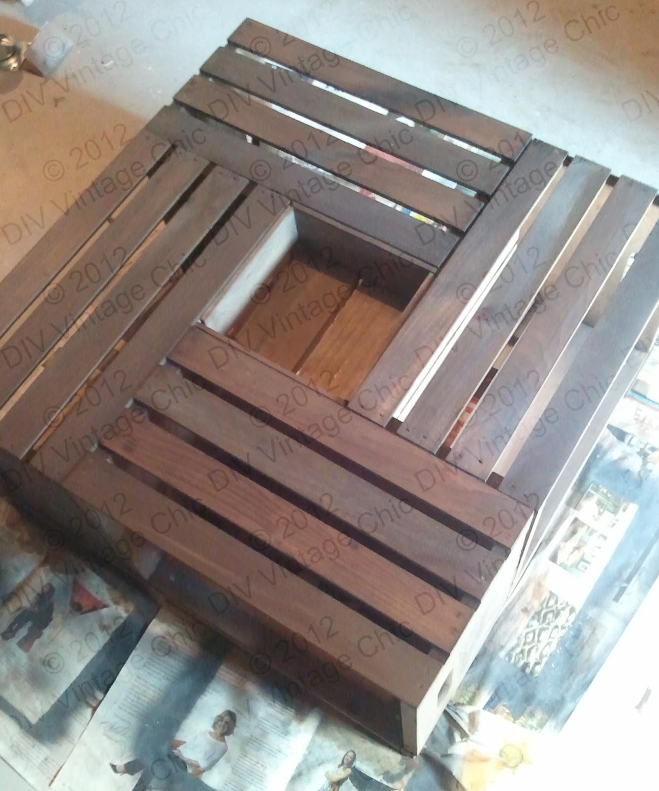DIY Vintage Chic Wine Crate Coffee Table
