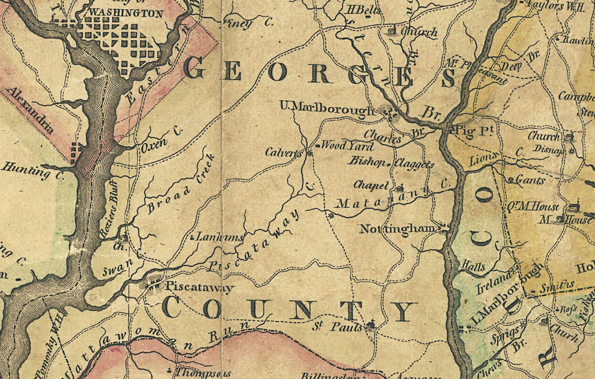 piscataway creek with town of lannhams just north lower left quarter from map of the state of maryland 1794