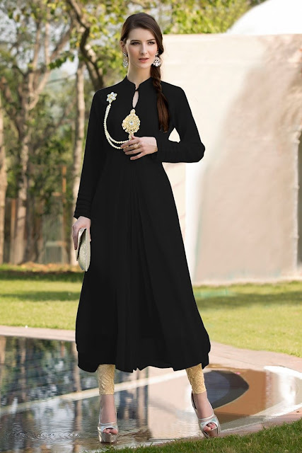 Black Georgette Party Wear Kurti With Stone Work