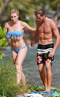 Ireland Baldwin wearing a bkue two piece swimsuit in Hawaii