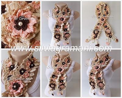 cordão de crochê com muitas flores