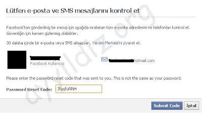 E-posta adresinize ya da cep telefonunuza gelen kodu gerekli yere girin