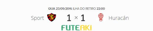 O placar de Sport 1x1 Huracán pelas oitavas de final da Copa Sul-Americana 2015