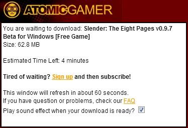 Tempo estimado para baixar Slender Game