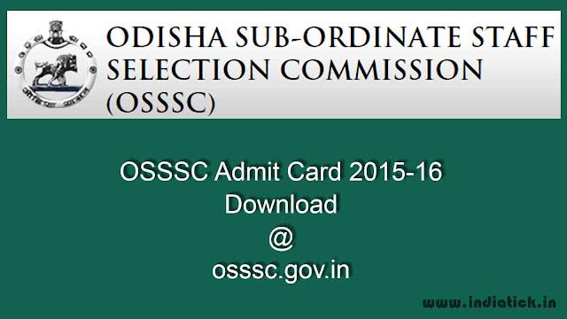 OSSSC Admit Card 2015 - 16 RI ARI Amin Jr Clerk Steno PDF