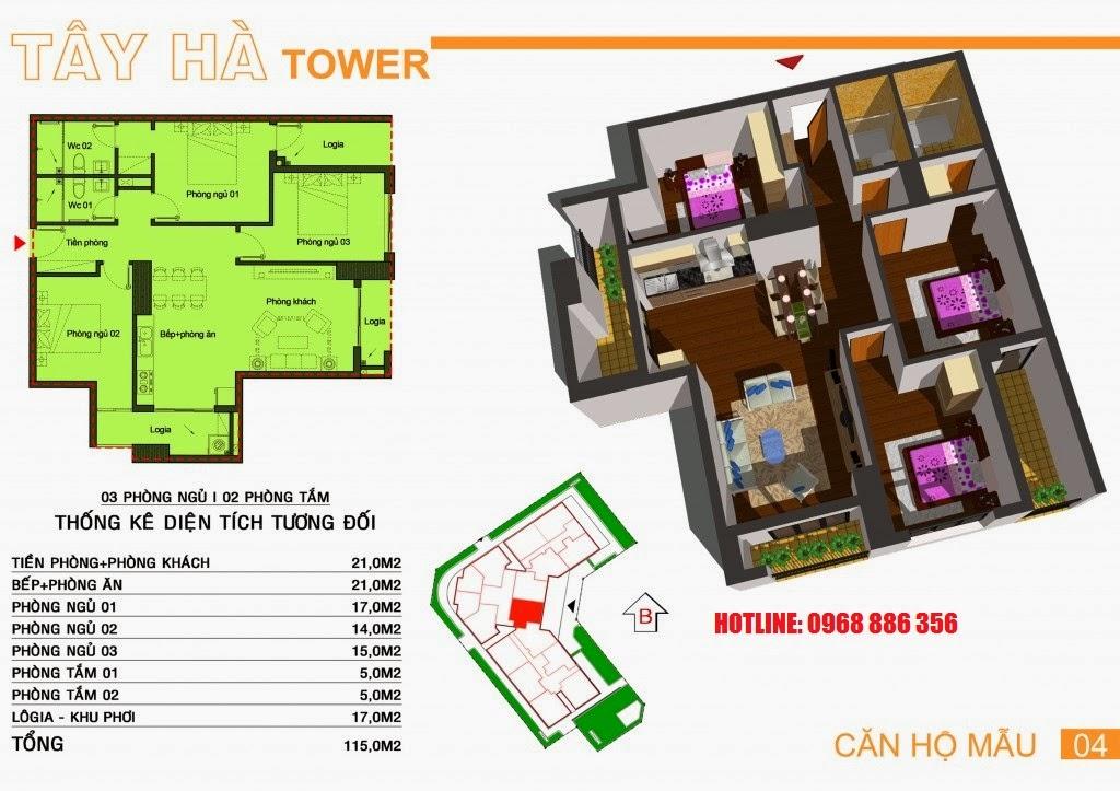 Căn hộ số 4 chung cư Tây Hà Tower