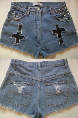diy jeans krzyż spodenki szorty dziury moda rock