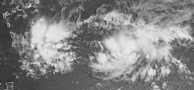 Potentieller Tropischer Sturm EMILY bewegt sich im Atlantik auf die Windward-Inseln zu, Windward-Inseln, Leeward-Inseln, Guadaloupe, Dominica, Martinique, St. Lucia, Barbados, St. Vincent, Grenadinen, Grenada, 2005, Hurrikansaison 2011, aktuell, Atlantik, Karibik, Kleine Antillen, 2011,