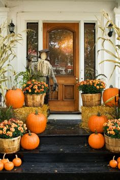fall harvest decor ideas, pretty halloween decor ideas