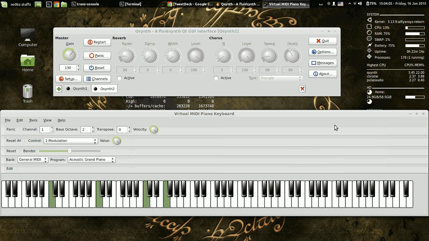 VMPK + FLUID Synth berjalan pada Linux Mint 13 Maya