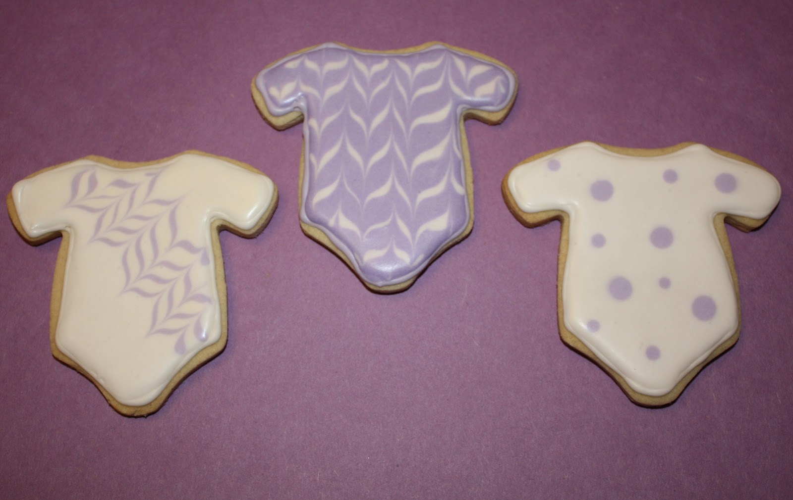 Mel's Sweet Treats: Baby Cookies for a Purple and White Baby Shower