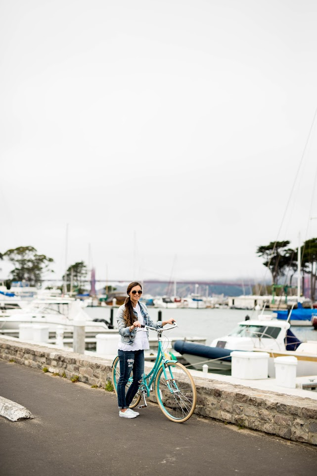 san francisco marina, boating, biking, public bikes, mint bike, fixie, turquoise