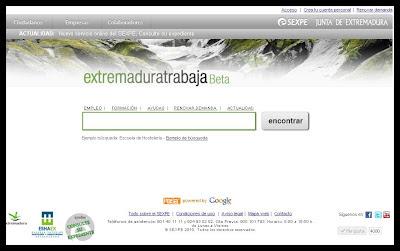 Antigua imagen del portal Extremaduratrabaja