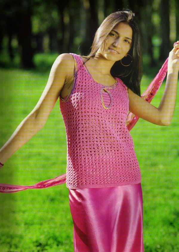 Remera sin mangas tejida al crochet